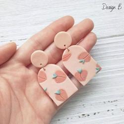 Polymer Clay Earrings - PEACHY PINK