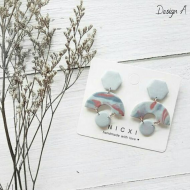 Polymer Clay Earrings - MOODY BLUES