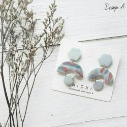 Polymer Clay Earrings - MOODY BLUES